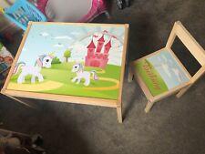 IKEA LATT Children's Table With 1 Chair Personalised Unicorn Fairytale Pink