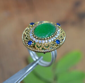 925 SILVER PLATED AND BRASS CUT SAPPHIRE GREEN EMERALD CZ TURKISH RING-7 US a287