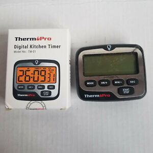 THERM PRO Digital Kitchen Timer - TM-01 - Black & Silver - Clock / Timer - Loud!