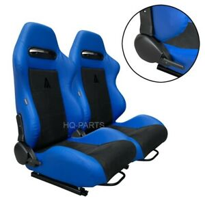 PAIR TANAKA BLUE PVC LEATHER & BLACK SUEDE ADJUSTABLE RACING SEATS FOR FORD *