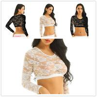 Sexy Women's See through Lace Mesh Sheer Long Sleeve Crop Top Slim Blouse Shirt