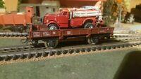 JOUEF,FLEISCHMANN, et autres échelle ho wagon plat avec épave camion de pompier