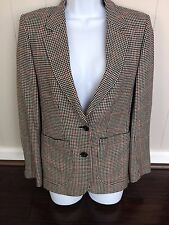 DAKS Women's 100% Cashmere Houndstooth 2 Button Blazer Skirt Suit Size 10