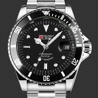 Military Royale Mens Watch Automatic Black Bezel Stainless Steel Strap Date Army
