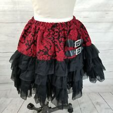 Queen of Darkness Gothic Victorian Red Floral Tulle Mini Skirt Fetish Cosplay