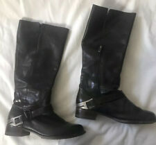 UGG Women's Channing II Riding Boots Black Leather Metal Stirrup Side Zip Sz 6.5