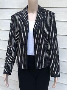 Talbots 12P Black & Beige Polka Dot Poly Cotton Long Sleeve Blazer Jacket