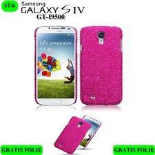 Diamant Strass Bling Schutz HARD Case Hülle Samsung Galaxy S4 i9500 PINK Folie