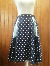 Vintage style navy polka dot flared rock and roll style skirt elastic waist 8-14