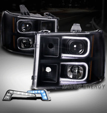 FOR 07-13 GMC SIERRA OPTIC LED BLACK PROJECTOR HEADLIGHTS HEADLAMPS W/BLUE DRL