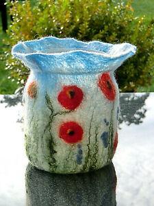 Windlicht Blumen Blütenwiese Filz gefilzt Gartendeko Vase Kerzenhalter Teelicht
