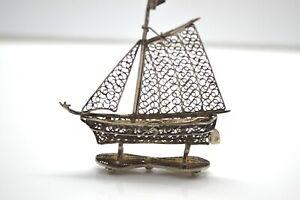 Superb Vintage Antique Art Deco Filigree Sterling Silver 925 Boat Miniature #728