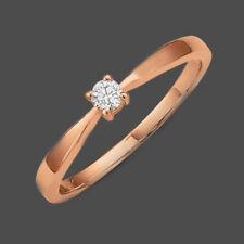 Rosègold Gold 585 Brillant 0,10 ct Frauen Verlobungsring Solitär Antrags Ring