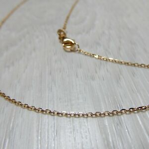 New Genuine Solid 9K Yellow Gold 0.9mm Chain Necklace 40,45,50 or 55cm (9CT 375)
