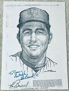 KEN BOSWELL HAND SIGNED AUTOGRAPH NEW YORK DAILY NEWS LITHOGRAPH COA METS