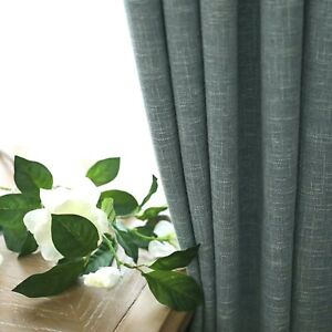 Three Layers Linen 90% Blackout Eyelet Curtains 140Cm*230CM Drop in Blue