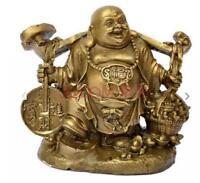 Lucky China Brass Wealth Yuanbao Money Ruyi happy Laugh Maitreya Buddha Statue