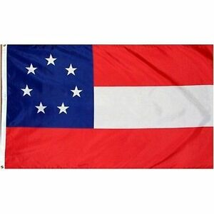 1st National Confederate 7 Star Flags heavy canvas header brass grommets! 100D