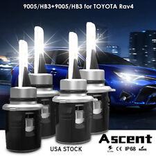 LED Headlight Kit High Low Beam Fog Lamp 9005 HB3 Bulb For Toyota RAV4 2013-2015