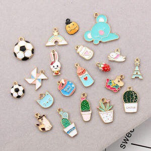 Enamel Rainbow Pumpkin Charms 10pcs Christmas Charms Craft DIY Neckalce Earring
