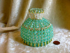 BEADED SHADE FOR WINDOW TABLE NIGHT LIGHT ELECTRIC CANDLE  SEA-FOAM GREEN