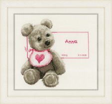 Vervaco - Cross Stitch Kit -  Bear with Bib - Birth Record -  PN-0163514