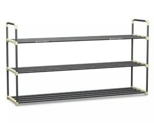 Shoe Rack with 3 Shelves-Three Tiers for 18 Pairs-For Bedroom, Entryway, closet