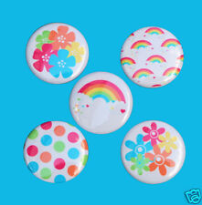 5 RAINBOW FLOWERS Buttons Pins Badges 1 inch Set
