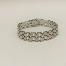"""Stunning 14K White Gold Panther Link 7.25"""" Bracelet - Excellent Made in Italy"""