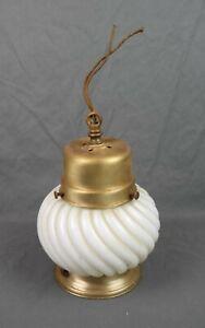 Vintage 1930's Hanging Pendant Light Lamp Fixture Swirl Milk Glass Shade Brass