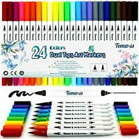 Watercolor Brush Pens Dual Tip Colouring Pens Felt Tip Art Markers Fineliner