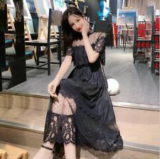 Summer Womens Korean Lace Slim Dress Sweet Fashion Mesh Sexy Cake Skirt Dresses
