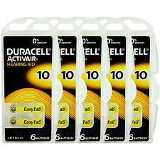 Duracell Activair Hearing Aid 10 Size batteries Zinc air x 6 - 60 cells