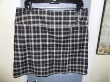 New York & Company Front Pleated Skirt Plaid Black/White Size 14 Women's NWOT