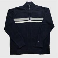 Mens Tommy Hilfiger Quarter Zip Jumper XL Navy Stripe Cotton Pullover