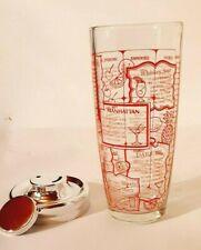 Irvinware Glass Cocktail Shaker Mixer 24 oz Imprinted Recipes Vintage Barware