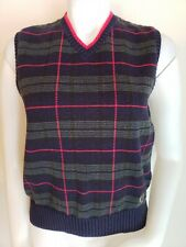 Vtg 80s Tommy Hilfiger Womens Sz M Sweater Vest Blue Plaid Tartan V-Neck Golf