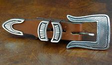 """Pc Set Sterling Silver On Black Background """"Lc"""" Lee Charley Navajo Ranger Belt 4"""