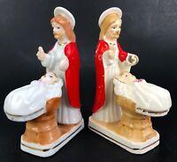 VTG Jesus Baptism Baby Girl Religious Statue Figure Devotional Porcelain Ceramic