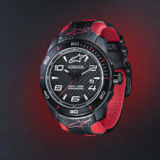ALPINESTARS TECH WATCH 3H STEEL  CASE BLACK RED FACE LEATHER STRAP MENS GIFT