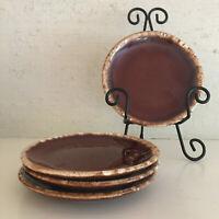 Set of 4 vintage Hull Pottery brown drip glaze 7-inch bread dessert salad plates