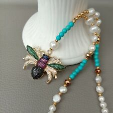 "18"" White Pearl Blue Turquoise Necklace CZ Pave Insect Pendant"