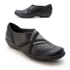Clarks Ladies 8 M Slip-on Loafers Black/Gray Leather Sporty Clogs Shoes