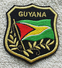 GUYANA FLAG IN SHIELD PATCH Embroidered Badge 7cm x 8cm South America Caribbean