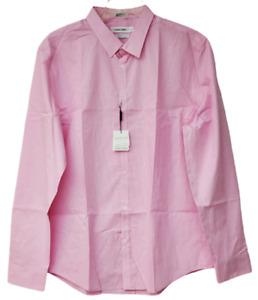 Calvin Klein Infinite Cool Shirt Men Long Sleeve Pink XL 100% Cotton Non-Iron