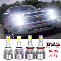 For 2020 2021 Silverado 1500 WT Custom Trail Boss White LED Headlight Bulbs