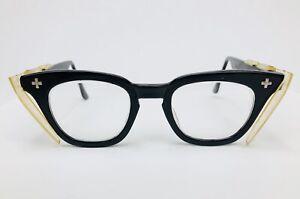 Vintage 5 1/2 Black Bausch & Lomb B&L Eyeglasses FRAMES With Sides 50's 60's