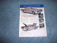 1965 Pontiac GTO Franklin Mint 1:24 Scale Vintage Die-Cast Ad