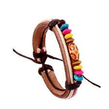 Da Uomo o Donna in pelle con perline bracciale surfista cinturino arcobaleno perline in legno