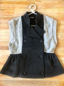 SNOB GREY WOOL WAISTCOAT JACKET/ SIZE SMALL/ WARM/ STAND UP COLLAR/ BUTTONED
